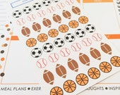 48 Assorted Sports Ball Stickers- Football, Basketball, Baseball, Soccer- perfect in your Erin Condren planner, calendar or scrapbook