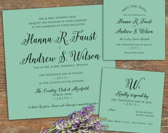 Tiffany Mint, Square Wedding Invitation Suite, Customizable, Printable