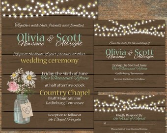 Rustic, String Light Wedding Suite, customizable, printable