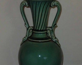 Antique Ceramic Urn Style Lamp Turquoise/Jade/Teal Green