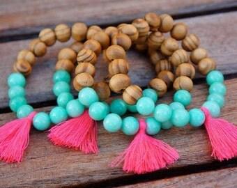 Israel olive tree beaded tassel bracelets