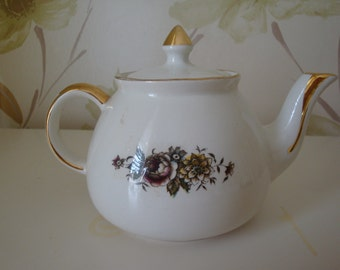 Teapot  with Floral and Gold Design - Gibson Staffordshire