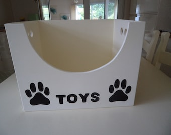 Hand Crafted and Hand Painted Mdf Dog Toy/Storage Box with Black Paw Prints