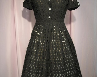 Late 1950s Early 1960s Black Eyelet Summer Day Dress Large Size