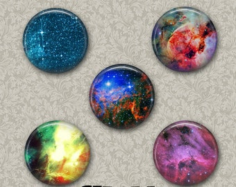 "Space 5 Button Set 1.25"" Pinback Button, Flatback or Fridge Magnet, Badge, Science, Astronomy, Teacher, Nebula, Galaxy, Stars Universe Set 2"