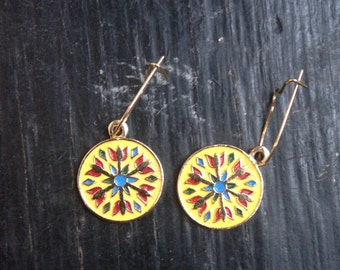 Native American style vintage yellow dangle earrings
