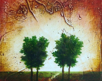 Tree landscape painting original oil painting on wood Tree painting River painting Textured oil painting green trees yellow pink sky