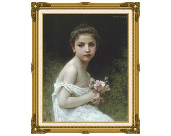 Framed Canvas Art Little Girl with a Bouquet William Bouguereau Print Giclee Painting Reproduction - Sizes Small to Large - M00568