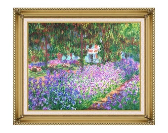Claude Monet's Garden in Giverny Framed Canvas Art Print Painting Reproduction - Sizes Small to Large - M00006-706