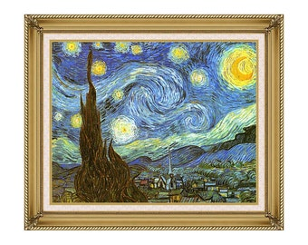 Painting Reproduction The Starry Night Vincent van Gogh Framed Canvas Art Print - Sizes Small to Large - M00014