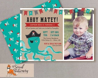 "Pirate birthday party, 1st birthday, Octopus invitation, Printable 5"" x 7"""