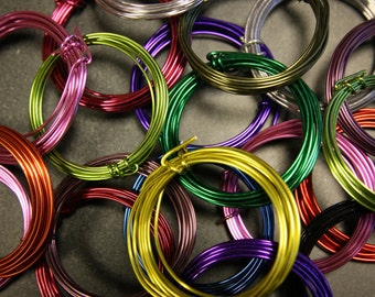 Coloured Aluminum Wire 10 x 3 metre coils of mixed colours  1.5mm Diameter ..in a hanging bag
