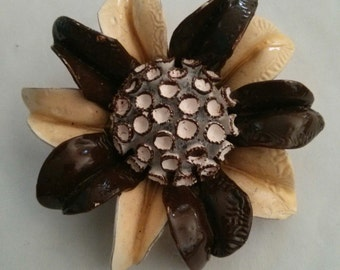 Vintage Brown, White and Cream Plastic Flower Brooch