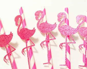 10 Flamingo Straws! Pink Glitter with Pink and White Straws