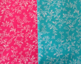 2-1/2 Yard Pink and Blue Calico Fabric