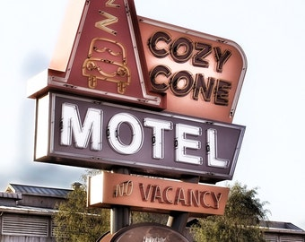 Sign Photography, Motel Sign, Vintage Neon Sign, Cozy Cone Motel Sign, Retro Home Decor, Vintage Home Decor, Neon Sign Photo Sign Typography