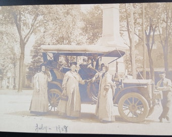Real Photo Postcard 1900s Group and Early Car RPPC