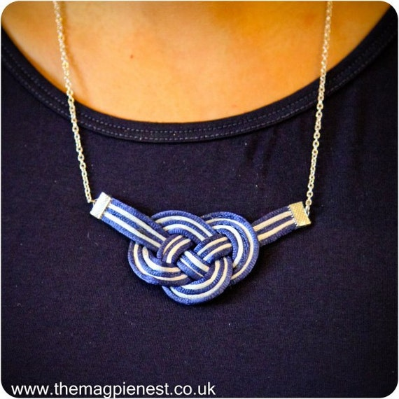 Nautical Knot Necklace / Multicoloured / Silk Cord / Knot / Braid / Statement Necklace / Silver plated chain