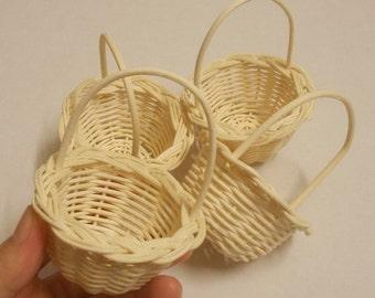 "4 Baskets (Size 2"") Handmade basket, Small wicker basket , Rattan basket , Wedding basket , Natural colour."