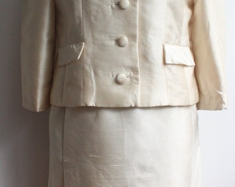 Vtg 60's Lord & Taylor Ivory Silk Skirt Suit, Union Made.