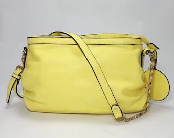 Handmade Leather Bag eco-friendly lemon yellow