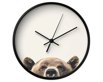 Bear Wall Clock, Bear Portrait, Bear Face, Animal Photography, Decorative Wall Clock, Home Decor, Wall Art, Animal Wall Clock, Hidden Animal