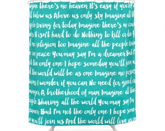 Imagine Song Shower Curtain, 5 Colors, Turquoise, Blue Bath, Bathroom Shower Curtain, The Beatles, John Lennon, Music Lyrics, Typography Art