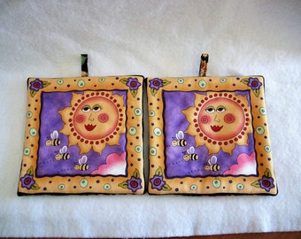 Set of 2 Quirky Sun Potholders