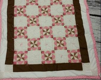 Elegant baby toddler handcrafted quilt blanket