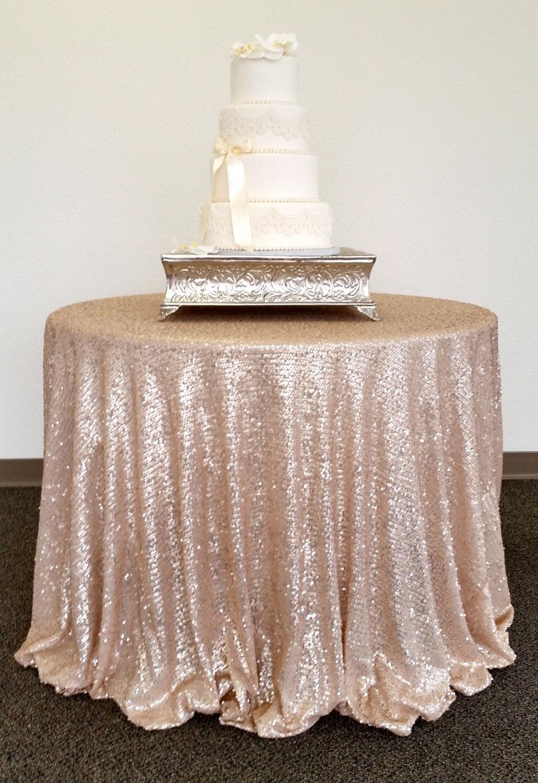 Champagne Glitz Sequin Table Cloth Sequin Tablecloth Glitz