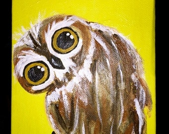 Owl print on a stretched canvas