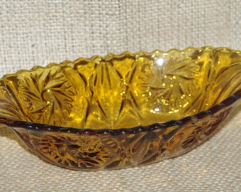 Amber glass small oval deep serving dish vintage 1960s