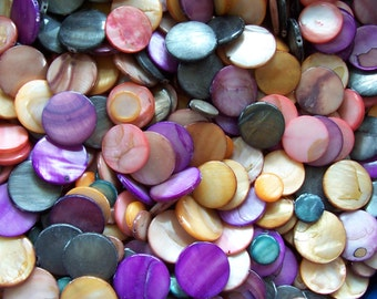Assorted Shell Coin Beads Mix ~ 1/2 lb Pound ~ 8 oz ~ Purple, Orange, Brown, More ~ 11mm-20mm ~ Jewelry Making Supply