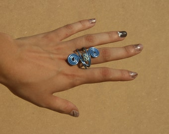 InfinityBlue-Ring wire with Swarovski