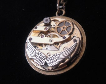 Wings of angels STEAMPUNK, REVERSIBLE mechanism of A417 Pocket Watch necklace