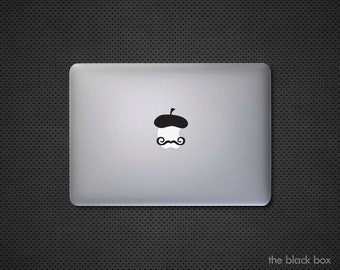 French Beret with a Mustache Macbook decal - Macbook sticker