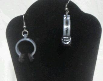 Grey and black headphones earrings