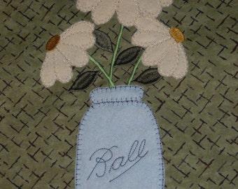 Primitive Ball Jar House Applique, Primitive Machine Applique Design, Country Flower Embroidery, Prim Applique, Vintage Mason Jar Applique