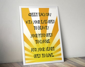 Greet Each Day  - Kitchen Wall Art for Friends - PRINTED - BUY 2 Get 1 FREE