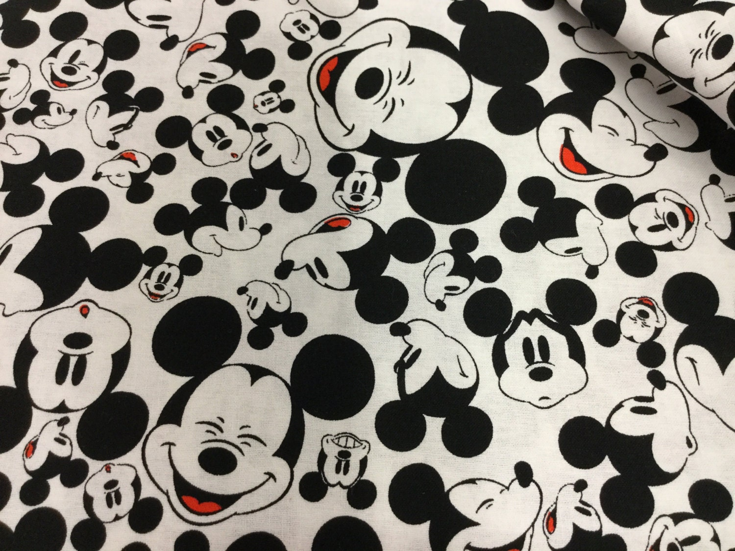 Black and white mickey mouse cotton fabric by creativejunkiee for Black and white childrens fabric