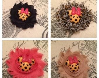 Miss Mouse hair clip/ Miss Mouse Leopard print hair clip/ Miss Mouse animal print hair clip/ girls hair clip/ girls hair bow/ girls barrette