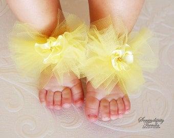 Yellow Barefeet Sandals, Yellow Barefoot Sandals for Baby Girl, Newborn Yellow Shoes, Newborn Yellow Sandals, Baby Shower Present Idea