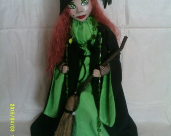 Lilibeth an original art doll.paperclay head ,painted in acrylics.free standing stump doll