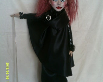 Verushka,original art doll,individually sculpted paperclay head,painted in acrylics,cloth body