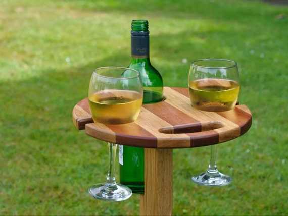 Outdoor Wooden Garden Wine Bottle And Glass Holder Stand