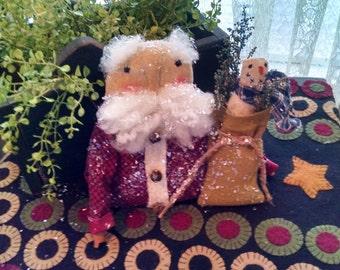 Primitive Christmas Santa and Bag with Snowman