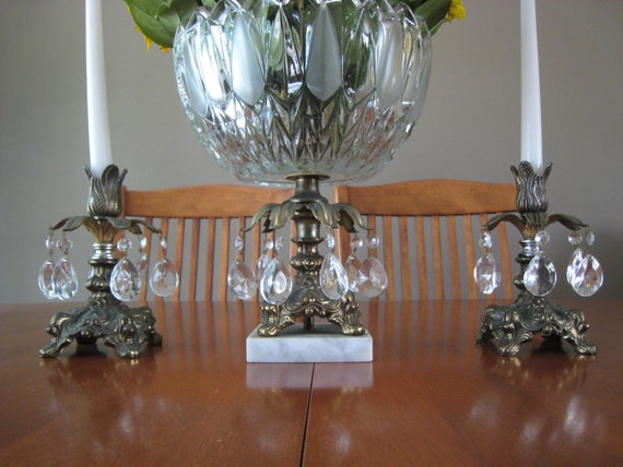 Salelead Crystal Bowl Marble Base With Matching Candle