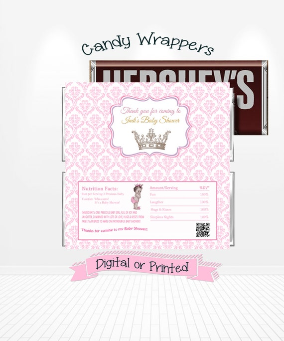 Baby Shower Favors Candy Bar Wrappers ~ Baby princess shower candy bar wrappers by andabloshop