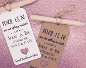 """Personalised """"Pencil us in"""" Save The Date / Evening Card / Tags Wedding Invitation with Pencil & Envelope"""