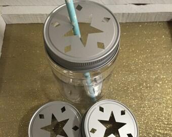 Star Mason Jar Lids !! Silver , Bronze,Party Lids , Daisy Lids , Wedding , Candle Jar Lid, Candles